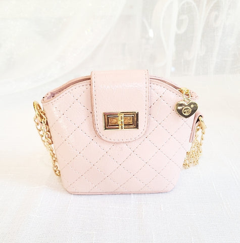 Accessories - Cross Body Leatherette Quilted Mini Purse, Blush Pink