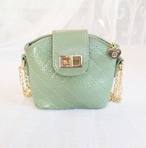 Accessories - Cross Body Leatherette Quilted Mini Purse, Moss Mint