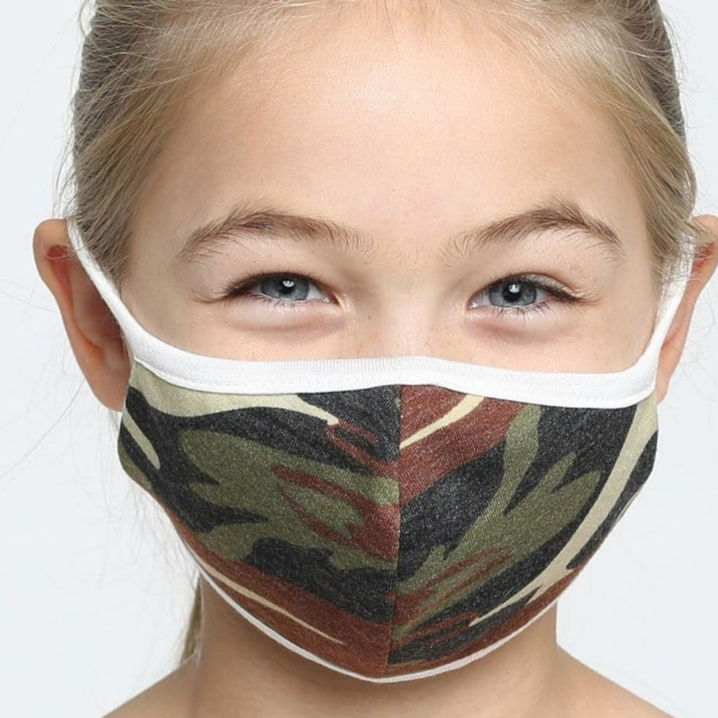 Kids Face Mask, Washable, Reusable - Classic Green Camouflage
