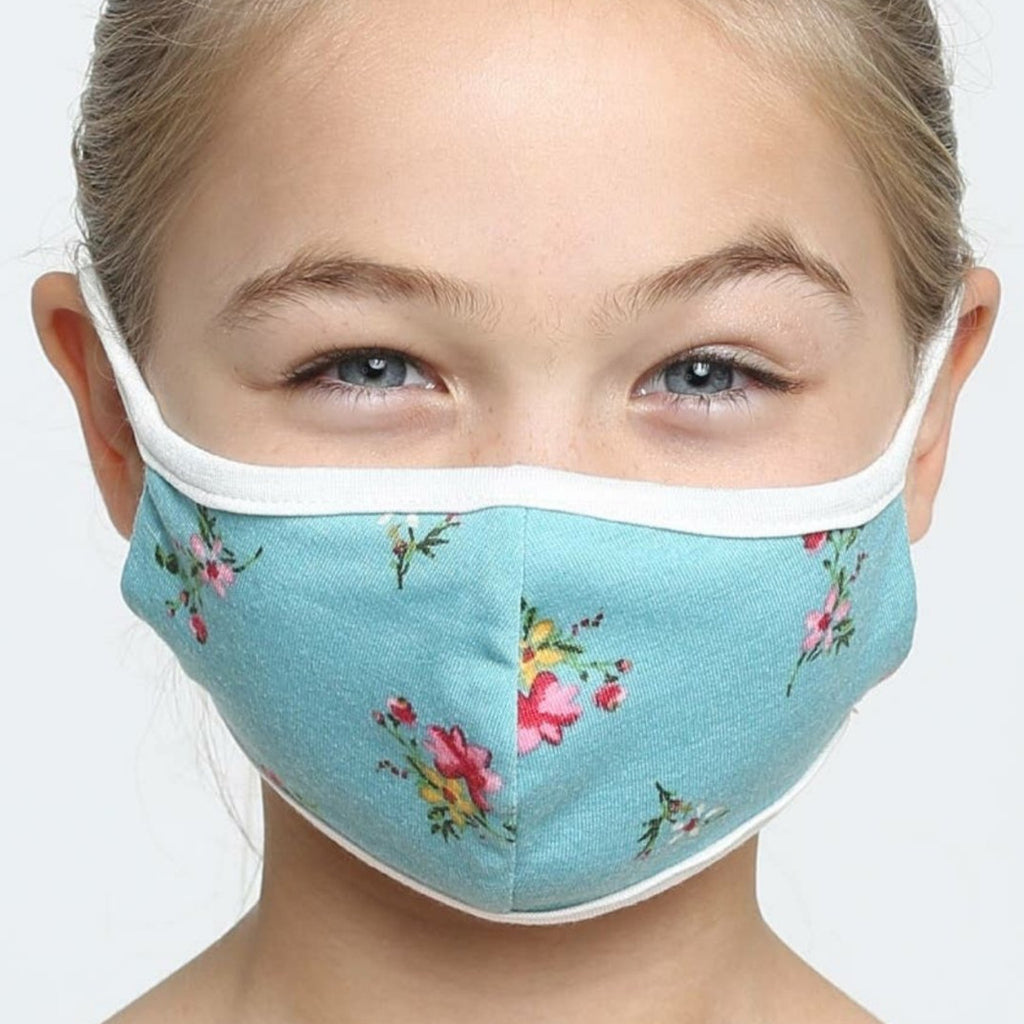 Kids Face Mask, Washable, Reusable - Aqua Tea Floral