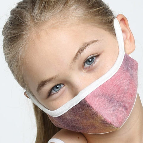 Kids Face Mask, Washable, Reusable - Pink Watercolor