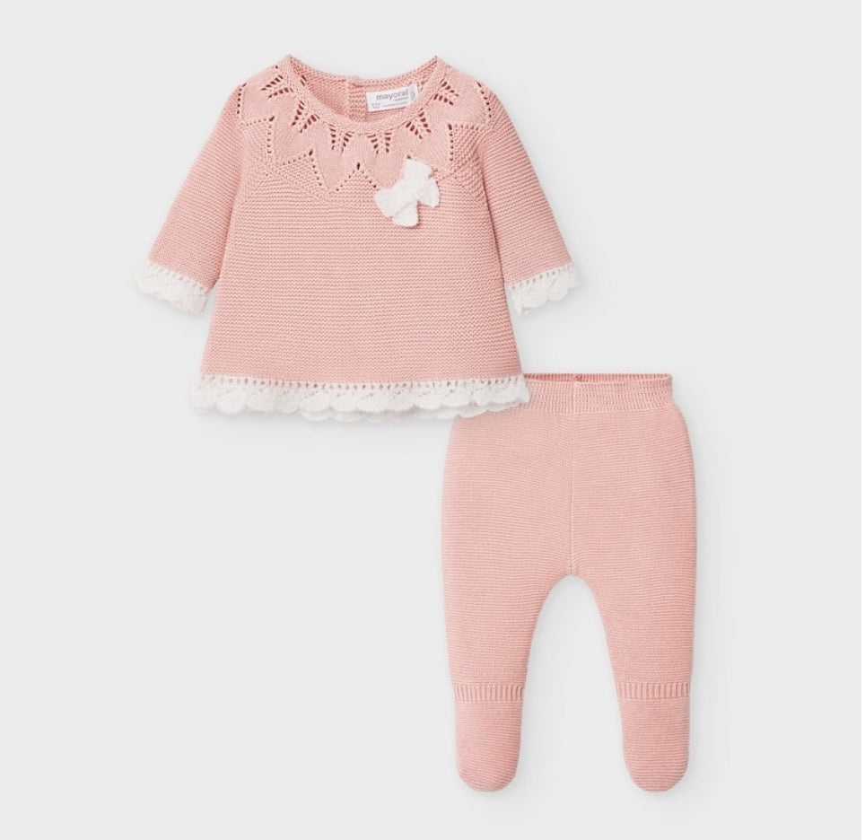 2549 Mayoral Knit & Angora Take Me Home 2 PC Set, Blush Pink