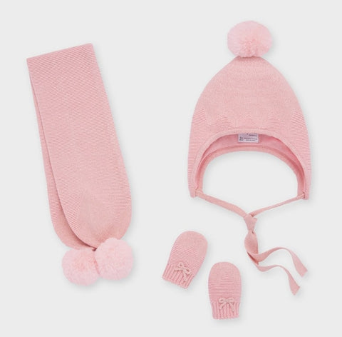 9312 Mayiral Toddler Scarf, Hat, & Mitten Set, Blush Pink