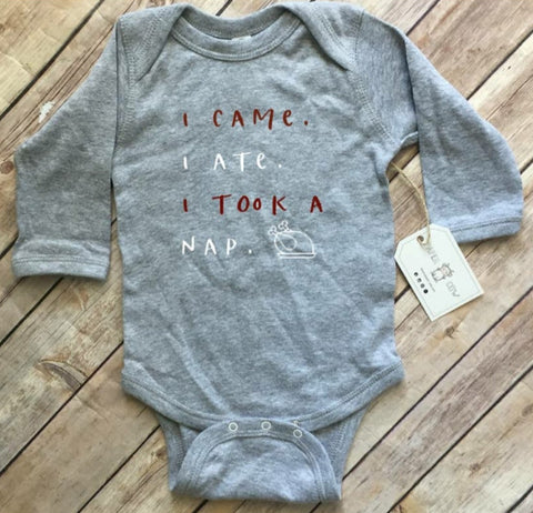 "Holiday Feast L/S Bodysuit, ""I Came, Ate, Nap"" - Unisex, Grey"