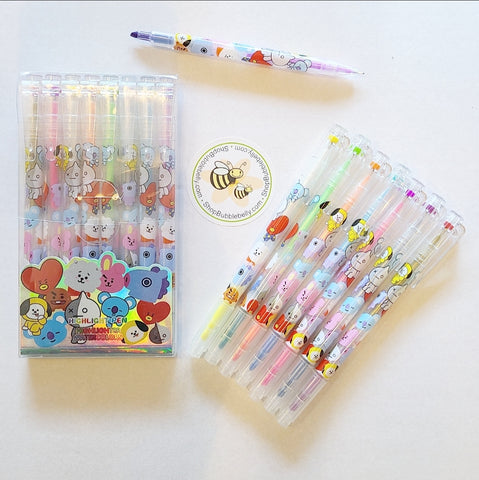 BT21 Dual Tip Highlighter & Gel Pen 8 PC Set