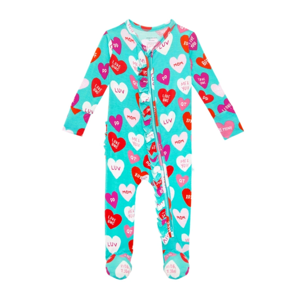 Posh Peanut Bamboo Ruffled Zippered Footie -  Valerie Candy Hearts