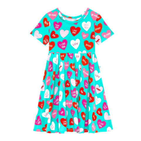 Posh Peanut Bamboo S/S Twirl Dress -  Valerie Candy Hearts