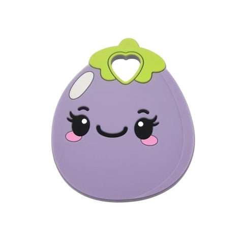 Silicone Teething & Chew Toy, Kawaii Eggplant