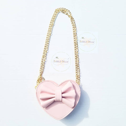 Accessories - Cross Body Leatherette Heart Shaped Purse, Pink Blush