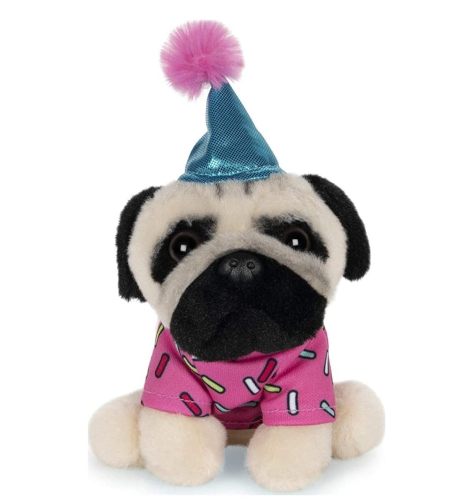 "Doug the Pug in a Birthday Outfit, 5"" plush toy"
