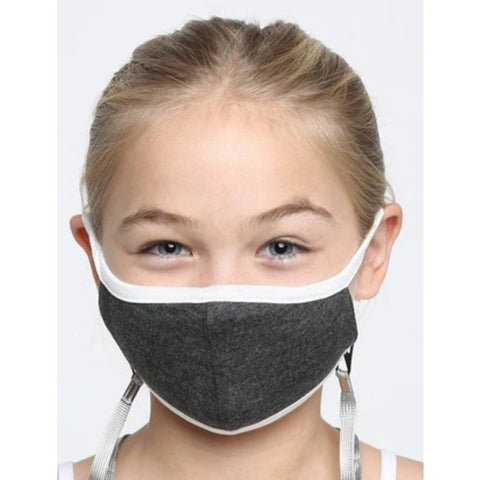 Face Mask, Kids Washable, Reusable - Unisex, Charcoal Grey