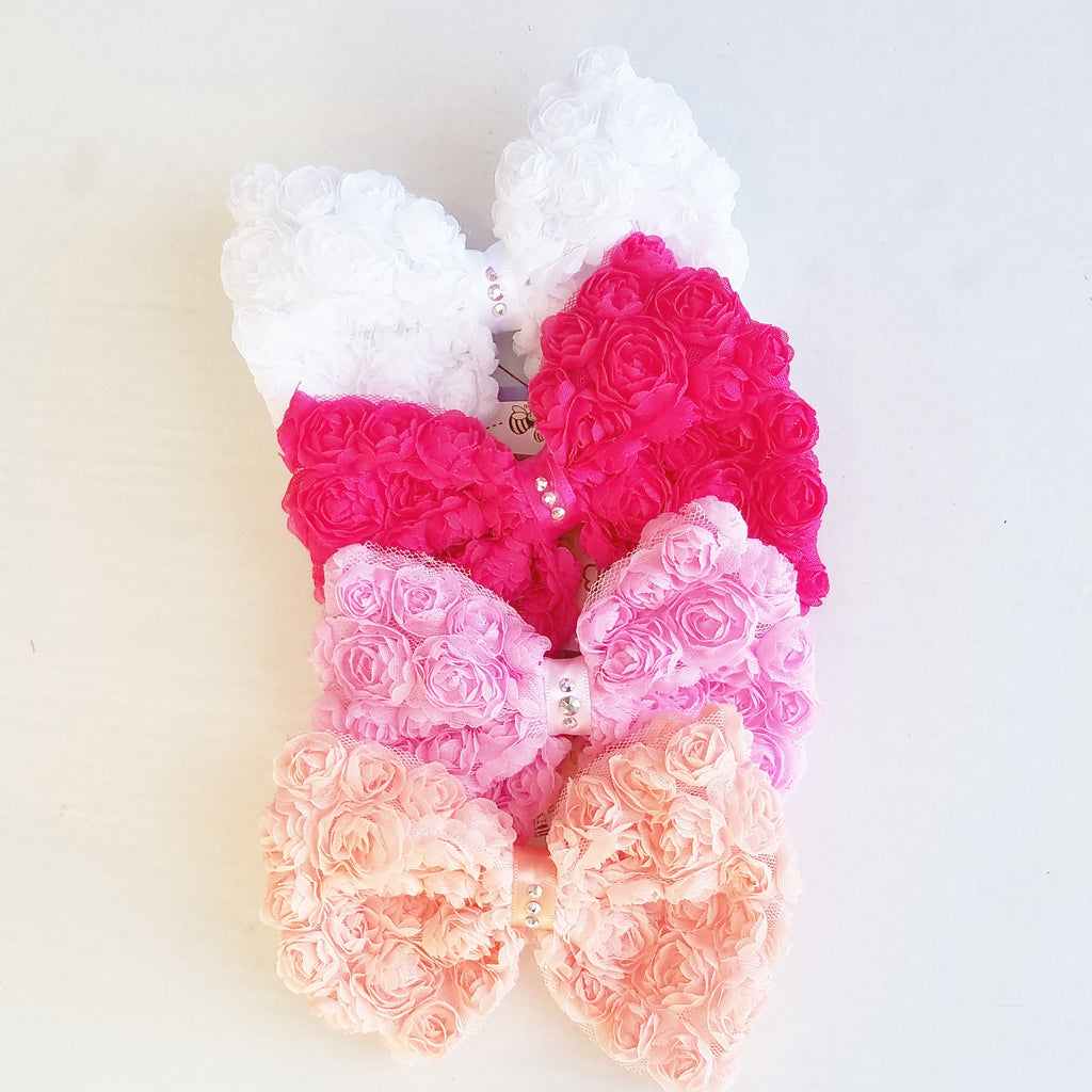 Swarovski Girls Hair Bows, Shabby Chic Hair Clips, Pinks