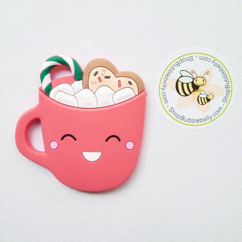 Silicone Teething & Chew Toy, Hot Chocolate, Red
