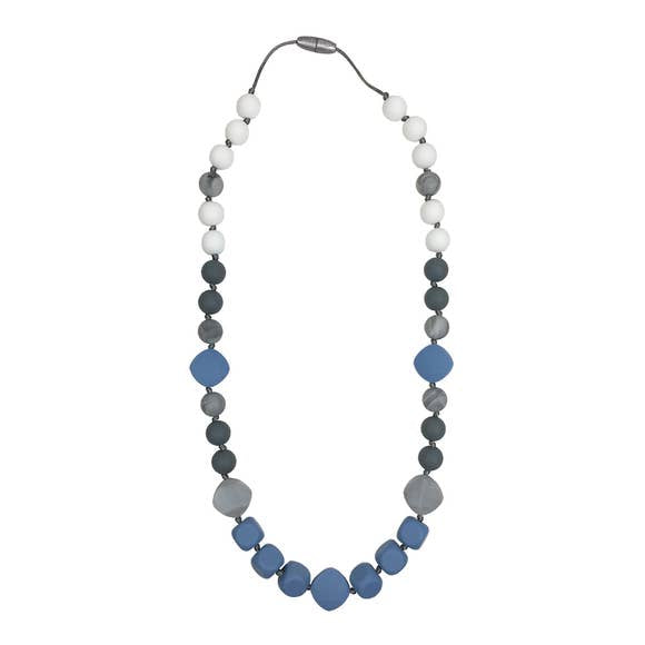 Chew/Teething Accessory - Teether, Silicone Teething Necklace - Gender Neutral, Geometric Blue, Grey & White