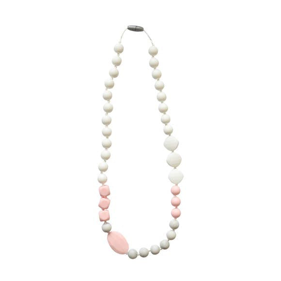 teething jewelry, chewbeads, for babies and moms, pink, white