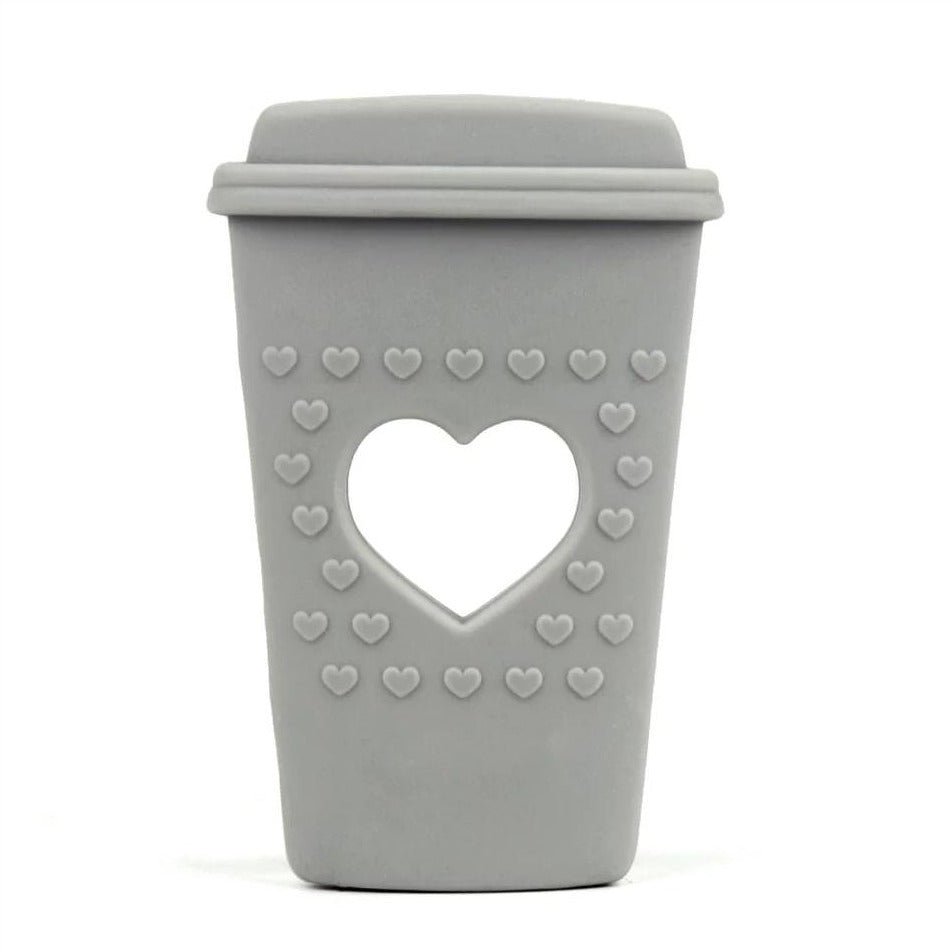 silcone teething and chew toy for babies, grey heart coffee cup