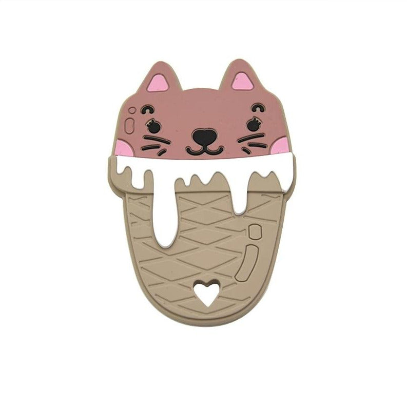 Silicone Teething & Chew Toy, Kawaii Kitty Cat Ice Cream Cone