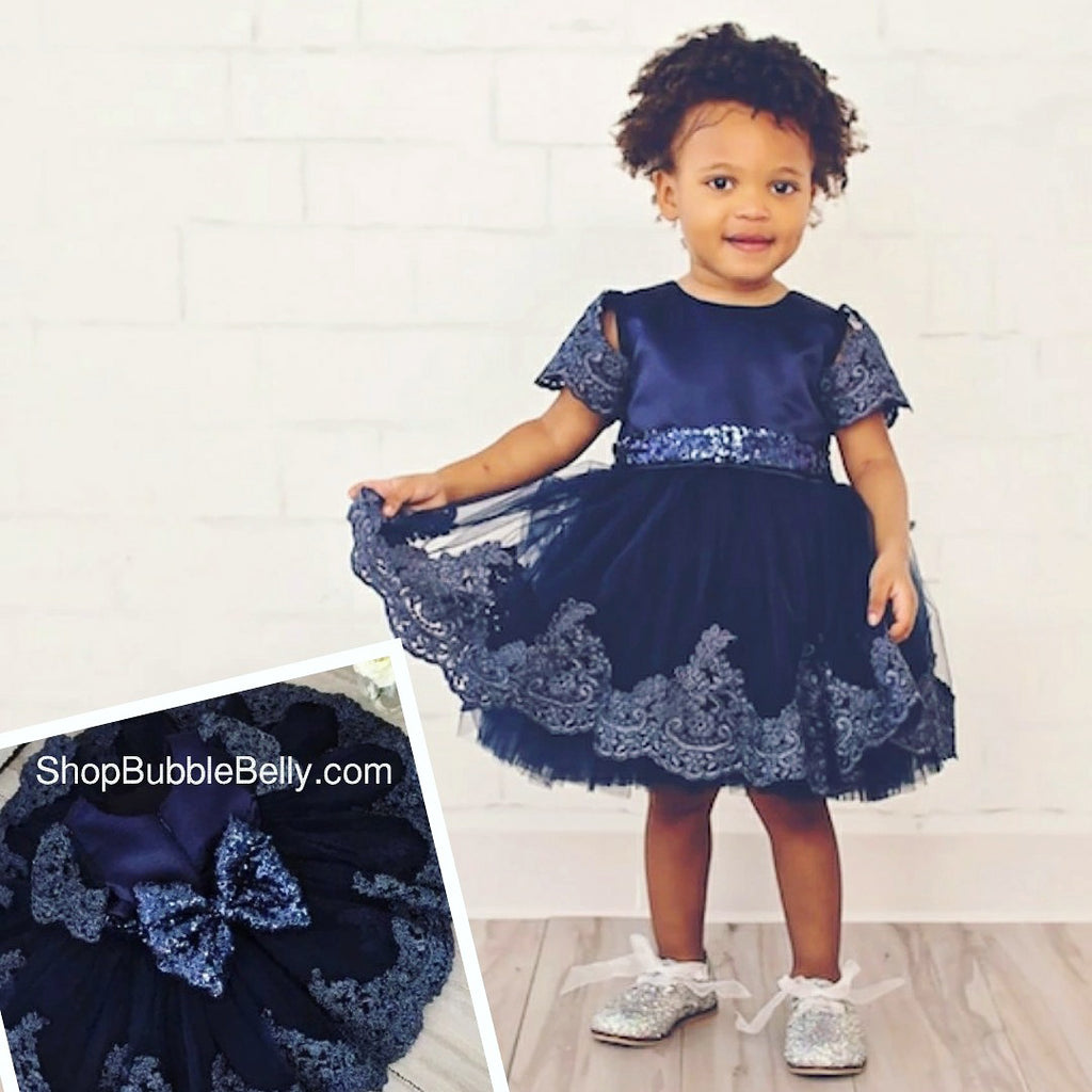toddler girls holiday dress, navy blue, guipure lace overlay and sequins party dress