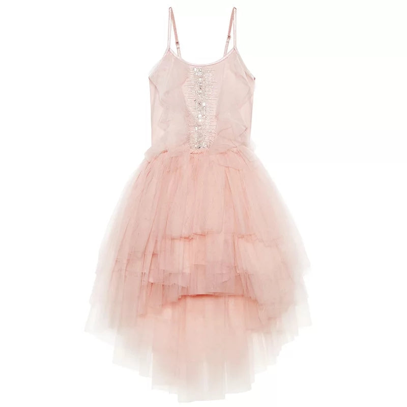 Spring Hi-Lo Dress, Pink Tulle Dress with Beaded Bodice