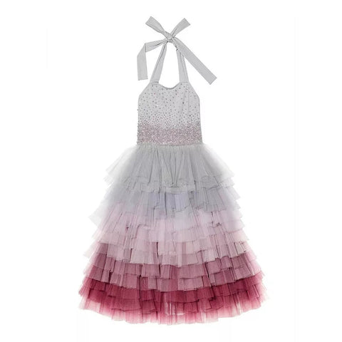 Halter Tutu Dress, Beaded Bodice - Grey Ombre