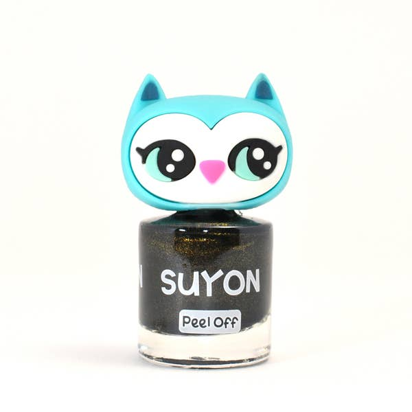 Suyon Kid Safe Nail Polish Water Based Peel Off Owl Sparkly Golden Black