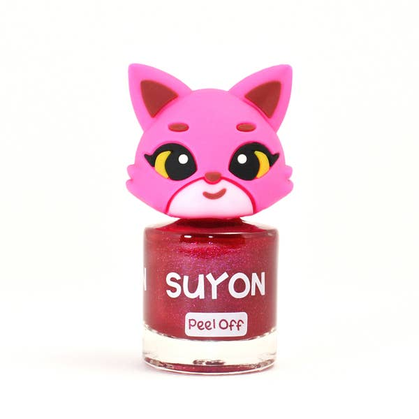 Suyon Kid Safe Nail Polish Water Based Peel Off Cat Sparkly Deep Fuchsia