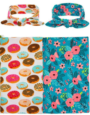 2 PC, Swaddle & Headband Set (CLICK FOR MORE OPTIONS)
