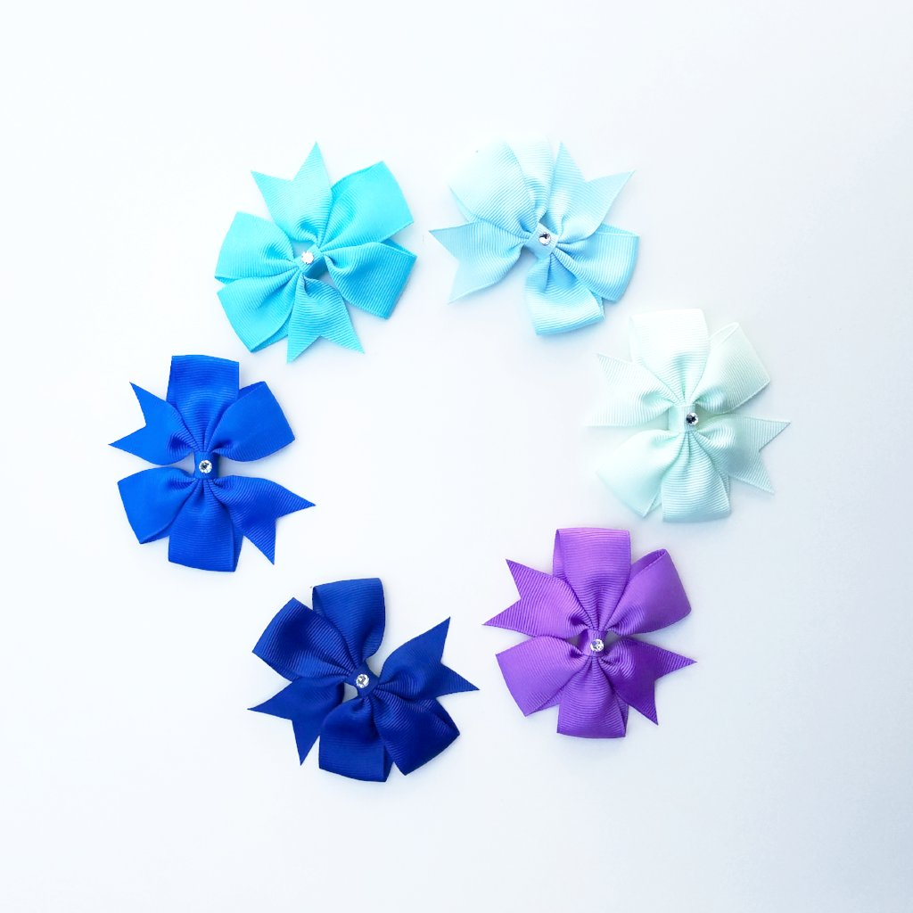 swarovski crystal hair bows handmade blue purple teal nonslip clips