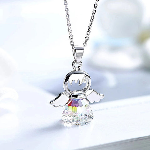 Crystal Necklace, Swarovski Angel Pendant