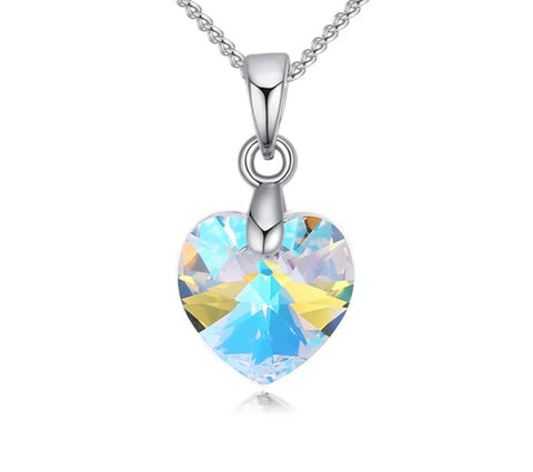 Swarovski Elements Austrian Crystal, Sweetheart Pendant Necklace, Iridescent AB Crystal