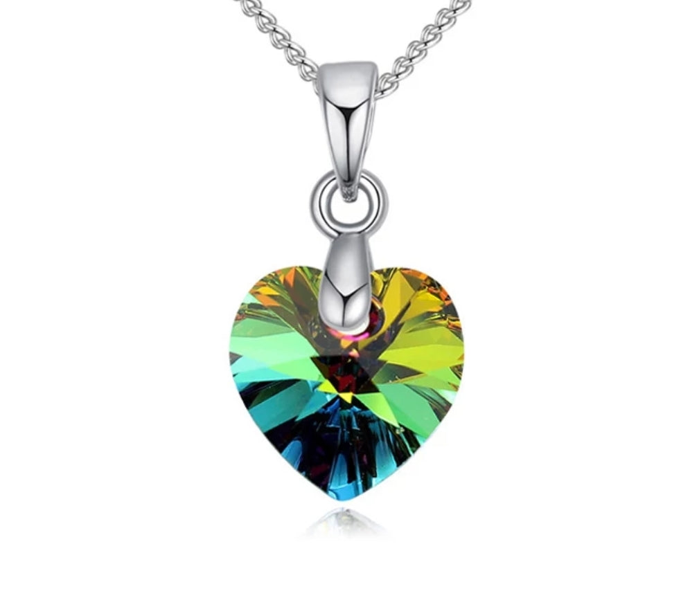 Crystal Necklace, Swarovski Heart Pendant, Rainbow