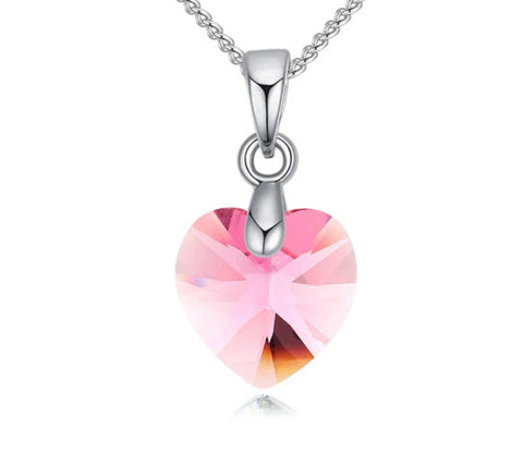 Swarovski Elements Austrian Crystal, Sweetheart Pendant Necklace, Pink