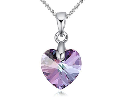 Swarovski Elements Austrian Crystal, Sweetheart Pendant Necklace, Purple