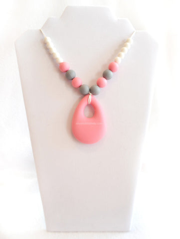 Silicone Chew & Teething Necklace - Rain Drop - Pink/Grey