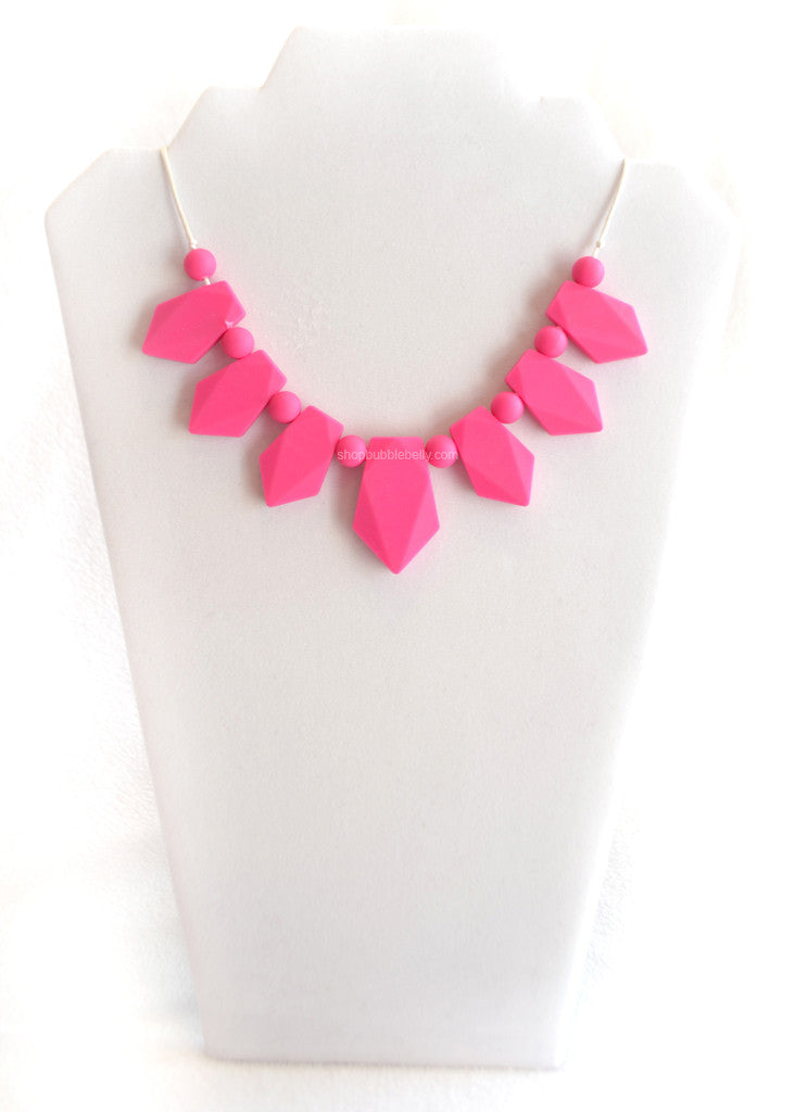 Silicone Jewelry, Baby Teether, Silicone Chew & Teething Jewelry, Necklace - Geometric Fuchsia Pink