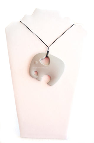 Silicone Chew & Teething Necklace - Elephant - Grey