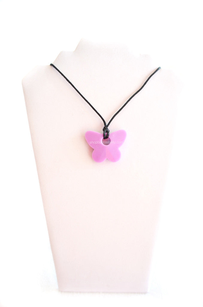 Silicone Chew & Teething Necklace - Butterfly - Purple