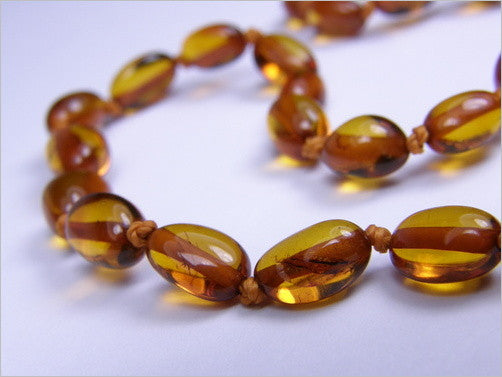 Baltic Amber Teething Necklace - Mid Amber, Polished Nuggets