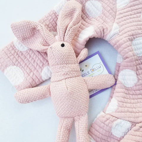 Tweed Bunny Soft Pink Lovie Toy - 8""
