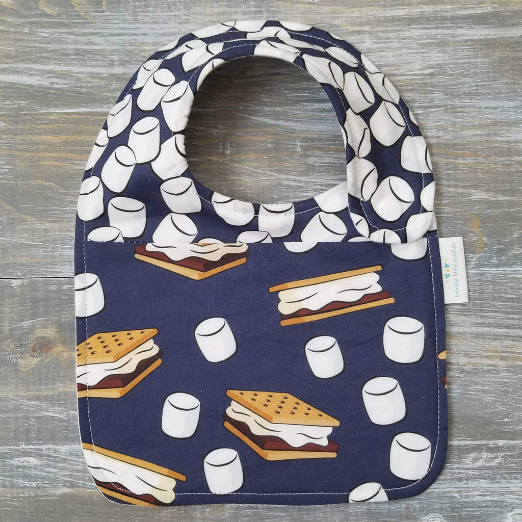unisex side snap bib, navy smores, marshmallows, cotton flannel, handmade
