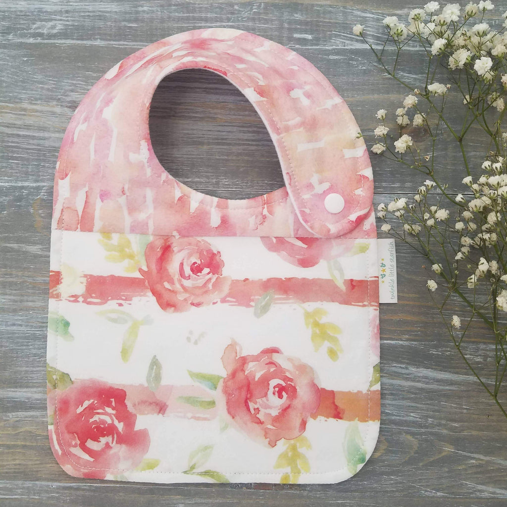 Handmade cotton flannel side snap bib, country rose, watercolor drool catcher