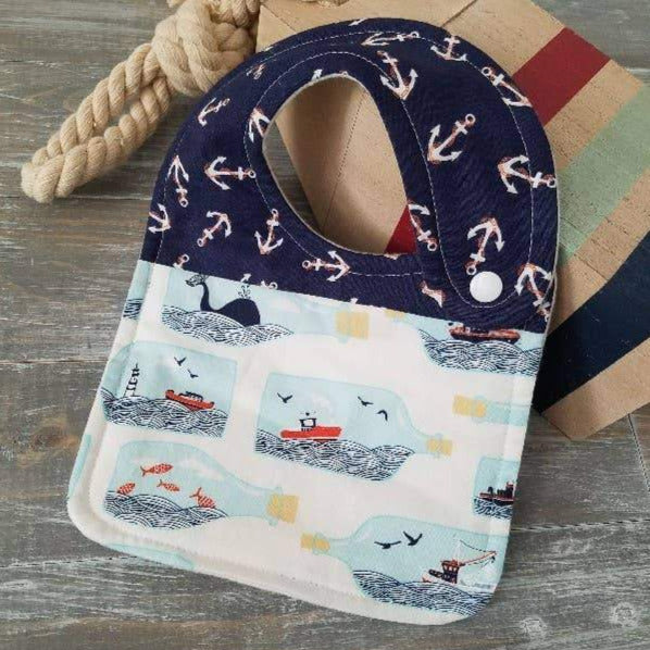 handmade cotton flannel drool bib, message in a bottle, nautical theme side snap bib
