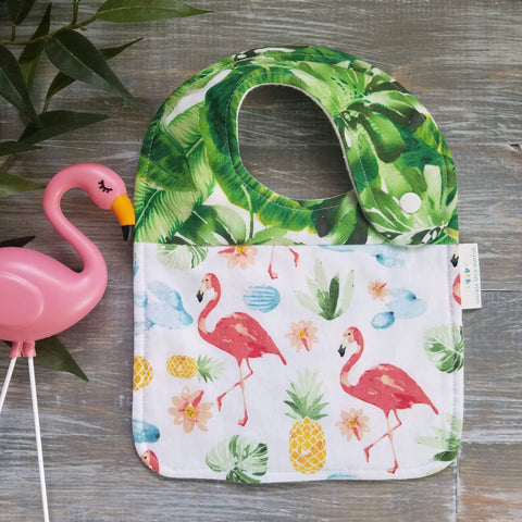 Twinkle Handmade Soft Cotton Flannel Side Snap Bib, Palm Leaves & Flamingos