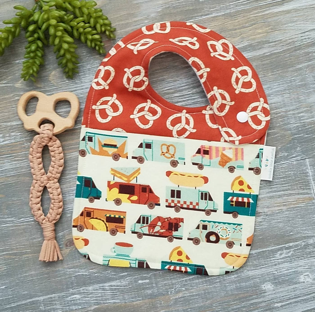Cotton side snap drool bib, food trucks and pretzel print, handmade,  Unisex design for the little foodie.