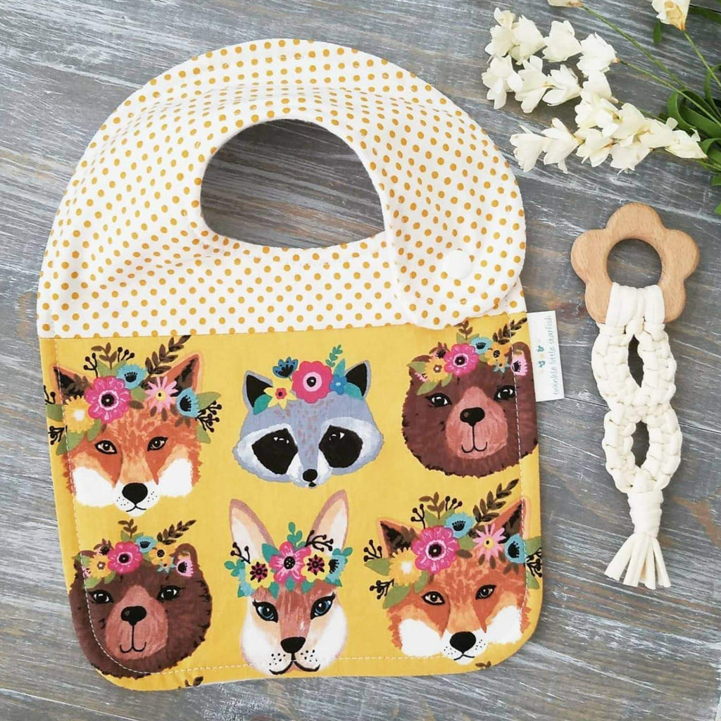 Handmade side snap bib, floral woodland creatures, polka dot & yellow