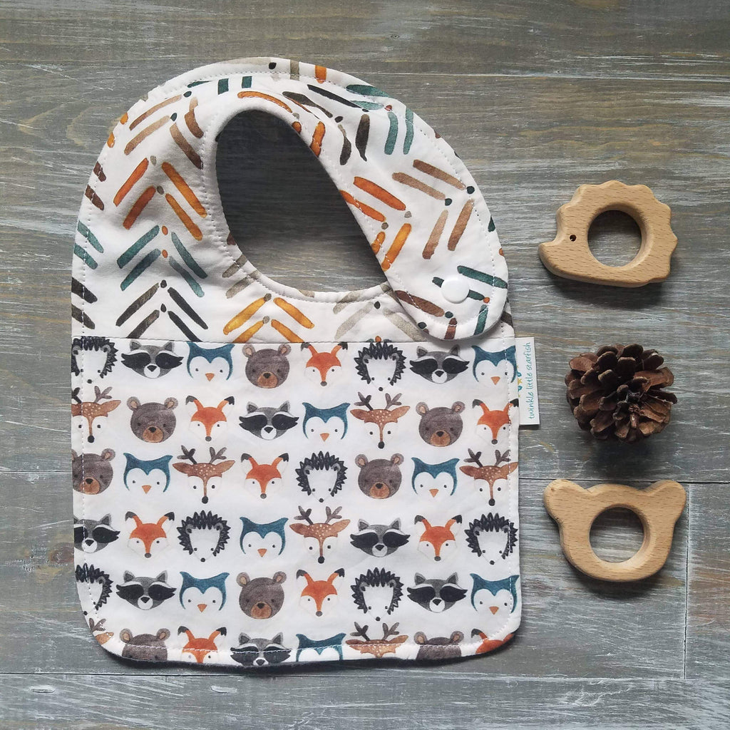 Gender neutral, unisex bib, woodland creatures, earth tones, dear, fox, raccoon, hedgehog