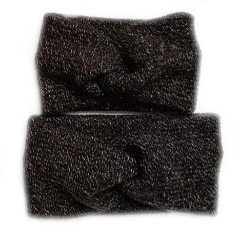 Knit Twist Headband, Heather Black (Mommy & Me, Two Sizes Available)