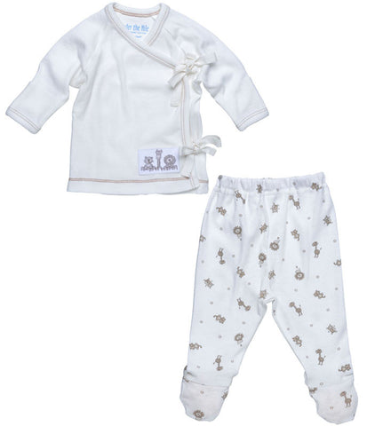 Under the Nile, 100% Organic Eqyptian Cotton Muslin, Side Tie 2 PC Footie, Animals