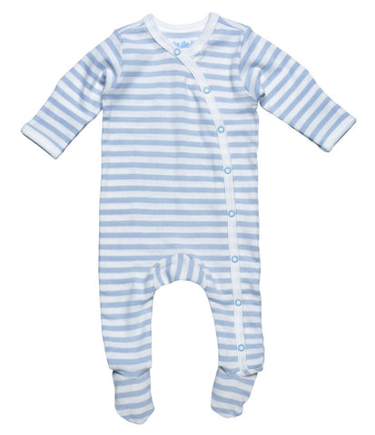 Under the Nile, 100% Organic Eqyptian Cotton Striped Footie, Blue Striped