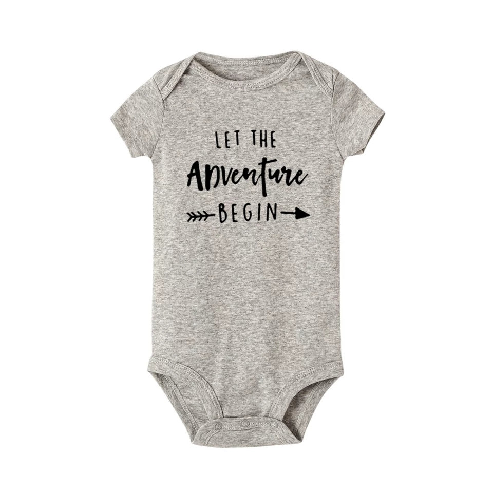 Grey snapsuit/bodysuit for babies, Let the adventure begin